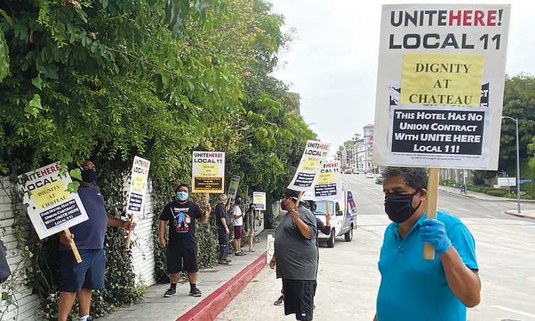 Protest on Behalf of Laid Off Workers at Chateau Marmont