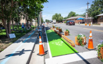 Community Invited To Try Out Roxbury Drive  Protected Bike Lane