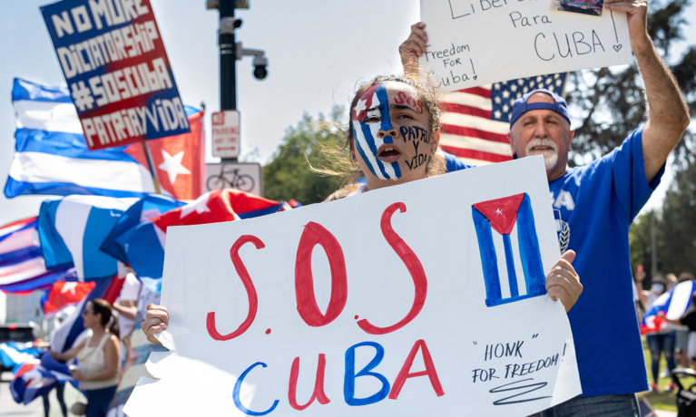 Cuba Solidarity Protests in  Beverly Hills
