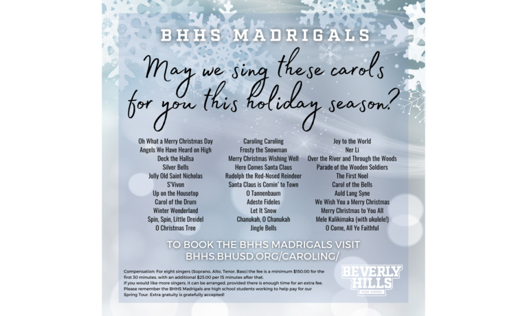 Book the Beverly Hills High Madrigals this Holiday Season